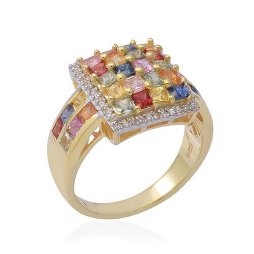 Rainbow Sapphire (Princess Cut), Natural Cambodian Zircon Ring in Yellow Gold Overlay Sterling Silver 4.14 Ct, Silver wt 6.50 Gms