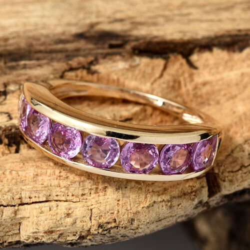 Limited Edition- 9K Yellow Gold AA Pink Sapphire (Rnd) Half Eternity Ring 2.000 Ct.
