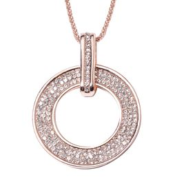 White Austrian Crystal (Rnd) Circle of Life Pendant With Chain (Size 29 with 2 inch Extender) in Ros