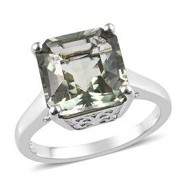 Prasiolite Asscher Cut (10 mm) Ring in Platinum Overlay Sterling Silver 4.750 Ct.