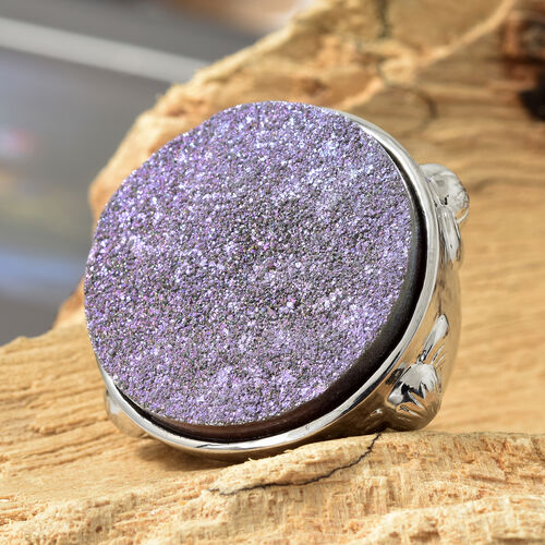 Drusy Forest Coated Quartz (Rnd) Ring in Stainless Steel 40.000 Ct.