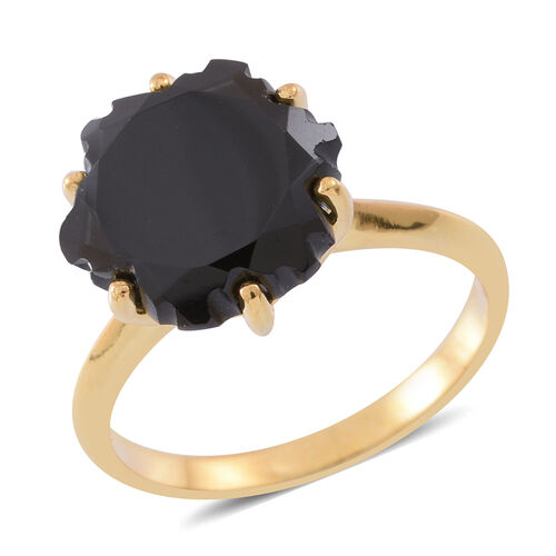 Fancy Cut Boi Ploi Black Spinel Ring in 14K Gold Overlay Sterling Silver 11.500 Ct.