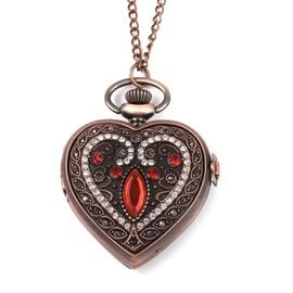 STRADA Japanese Movement Water Resistant Multi Colour Austrian Crystal and Simulated Red Garnet Heart Pocket Watch with Chain in Rose Gold Plating