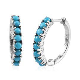 AA Arizona Sleeping Beauty Turquoise (Rnd) Hoop Earrings (with Clasp Lock) in Platinum Overlay Sterl