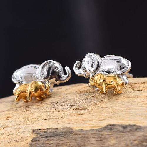 Mother and Baby Elephant Earrings in Platinum and Yellow Gold Overlay Sterling Silver (with Push Back)