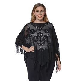 Spring Collection - Rose Pattern Hollow Out Poncho with Fringe Hem in Black (Free Size; Length 50Cm)