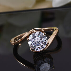 J Francis 14K Gold Overlay Sterling Silver Ring Made with SWAROVSKI ZIRCONIA 2.80 Ct.