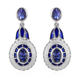 Tanzanite Enamelled Dangle Earrings (with Push Back) in Platinum Overlay Sterling Silver 1.56 Ct.
