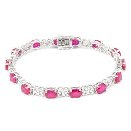 African Ruby (Ovl 7x5 mm) Bracelet (Size 7.5) in Rhodium Overlay Sterling Silver 15.650 Ct.