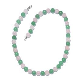 Green Aventurine, Rose Quartz Ball Necklace (Size 20) in Platinum Overlay Sterling Silver 283.200 Ct.