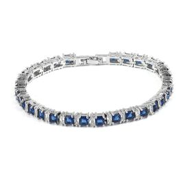 Simulated Blue Spinel and Simulated Diamond Tennis Bracelet in Silver Tone 7 Inch