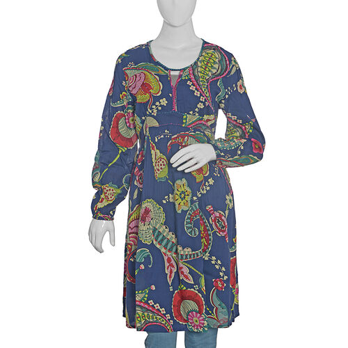 Navy Blue and Multi Colour Floral Pattern Embellished Dress (Size L 99.06x50.8 Cm)