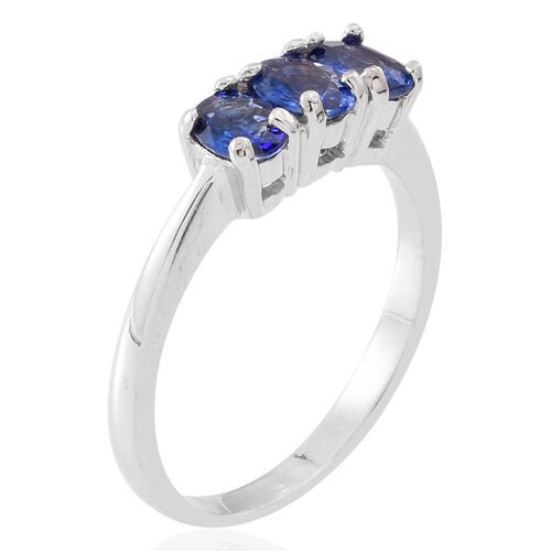 AA Ceylon Sapphire (Ovl) Trilogy Ring in Rhodium Plated Sterling Silver 1.500 Ct.