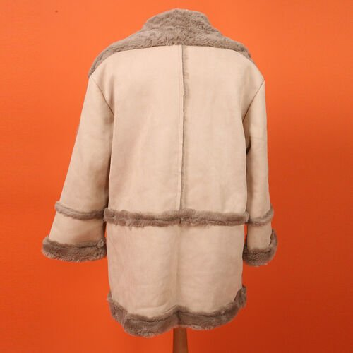 Urban Mist Faux Fur Suede Shearling Soft Fleece Lined Collar Coat with Pockets (Size XL; 14-16) (Length: 75cm) - Beige