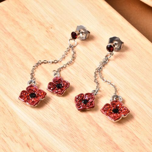 TJC Poppy Design - Black and Red Austrian Crystal Enamelled Poppy Dangle Earrings (with Push Back) i