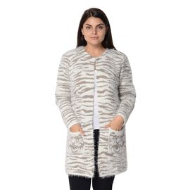Soft and Smooth White Tiger Pattern Sweater Coat with 2 Pockets (Size 51x81 Cm) - Brown and White