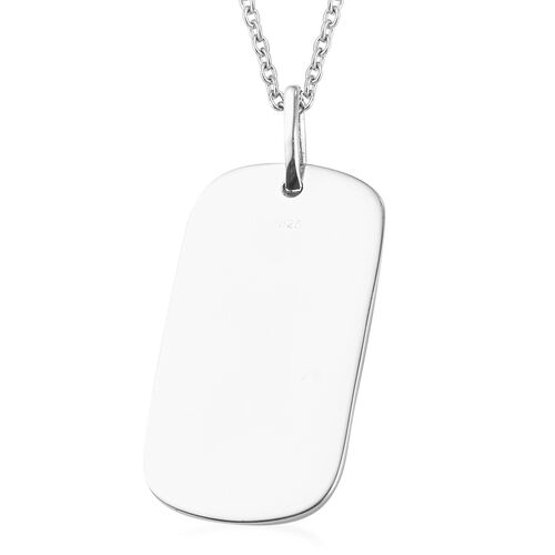 Platinum Overlay Sterling Silver Dog Tag Pendant With Chain (Size 20), Silver wt. 8.00 Gms