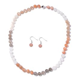 2 Piece Set 202.50 Ct Multi Peach Moonstone Hook Earrings and 20 Inch Beaded Necklace in Silver