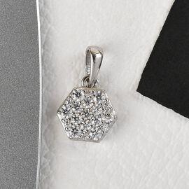 J Francis Platinum Overlay Sterling Silver Pendant Made with SWAROVSKI ZIRCONIA 1.08Ct