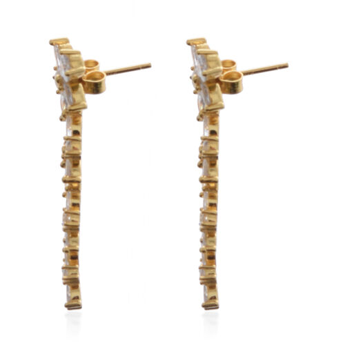 ELANZA AAA Simulated Diamond Dangle Earrings (with Push Back) in Yellow Gold overlay Sterling Silver