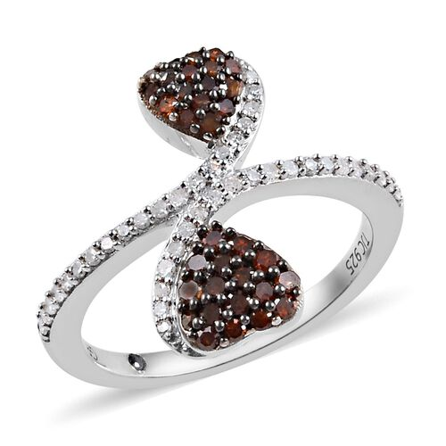 GP 0.53 Ct Red and White Diamond and Blue Sapphire Heart Bypass Ring in Platinum Plated Silver