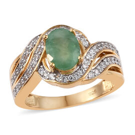 Kagem Zambian Emerald (Ovl 8x6 mm), Natural Cambodian Zircon Ring in 14K Gold Overlay Sterling Silve