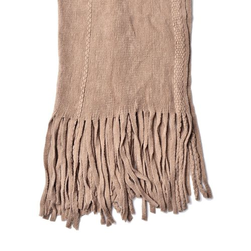 Khaki Colour Scarf with 25 Cm Long Fringes (Size 150x50 Cm)