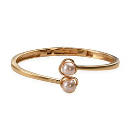 J Francis - Crystal From Swarovski Crystal Peach Pearl Bangle (Size 7.5) in 18K Yellow Gold Plated