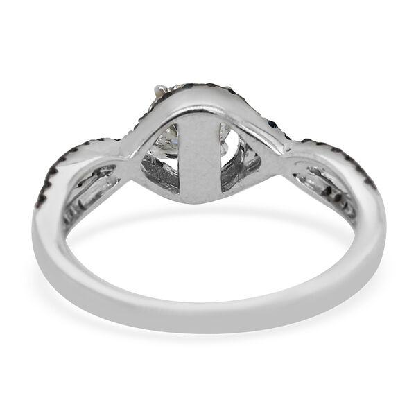 Set of 2 - 14K White Gold Blue Diamond and White Diamond (SI-I1/G-H) Ring 1.25 Ct.