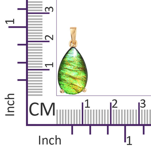 AA Canadian Ammolite (Pear 18x11 mm) Pendant in 14K Gold Overlay Sterling Silver.