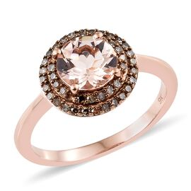 9K Rose Gold AAA Marropino Morganite (Rnd 1.65 Ct), Natural Champagne Diamond Ring 2.000 Ct.Gold Wt