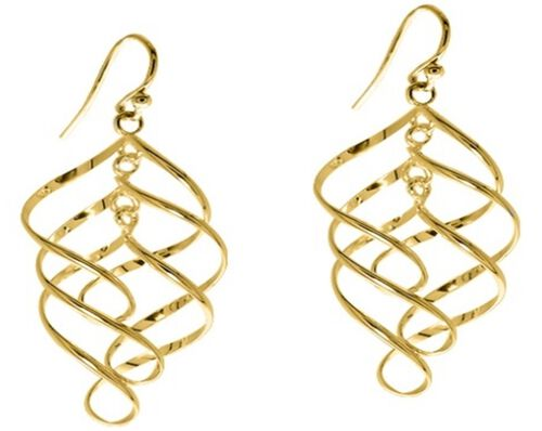 Yellow Gold Overlay Sterling Silver Dangle Hook Earrings
