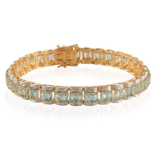 Paraibe Apatite (Ovl), Diamond Bracelet in 14K Gold Overlay Sterling Silver (Size 8) 14.020 Ct.