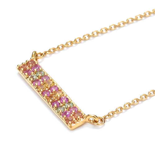 WEBEX- Rainbow Sapphire (Rnd) Necklace with Chain (Size 18) in 14K Gold Overlay Sterling Silver 1.00 Ct