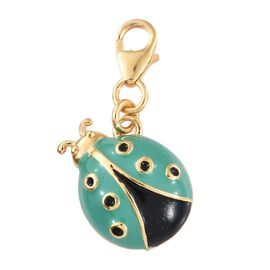 14K Gold Overlay Sterling Silver Lady Bird Enamelled Charm