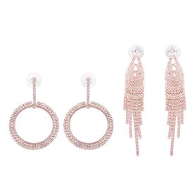 Set of 2 Pairs - Simulated Diamond (Sqr), White Austrian Crystal Earrings (with Push Back) in Rose G