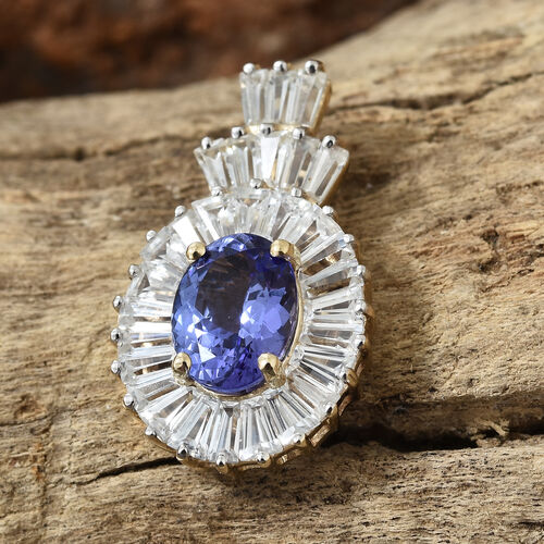 9K Yellow Gold AA Tanzanite (Ovl), Natural Cambodian White Zircon Pendant 3.750 Ct