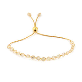 Italian Made - 9K Yellow Gold Cubic Zirconia Adjustable Bolo Bracelet (Size 6.5-9.5)