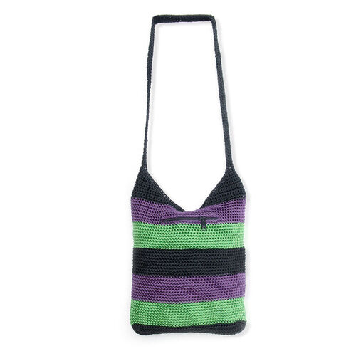 Purple, Green and Black Striped Shoulder Bag (Size 12x11 in)