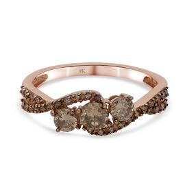 9K Rose Gold SGL Certified Champagne Diamond (I3) Ring 1.02 Ct.