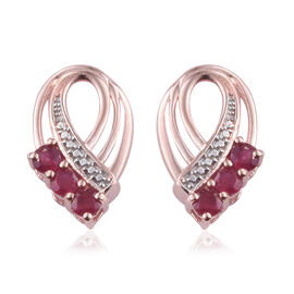 1 Carat African Ruby Stud Earrings (with Push Back) in Rose Gold Plated Silver (with Push Back)