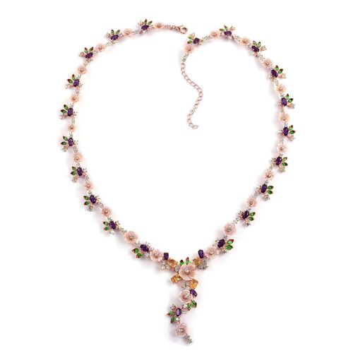 Jardin Collection Pink Mother of Pearl and Multi Gemstones Necklace in Rose Gold Plated Silver