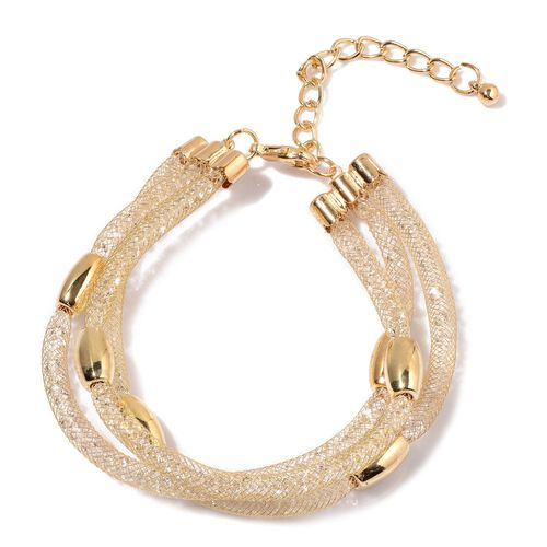 Designer Inspired - AAA White Austrian Crystal 3 Row Mesh Bracelet (Size 8.5 with 2 inch Extender) in Yellow Gold Tone (approx. 120pcs crystals)