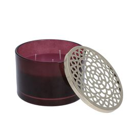 Luxurious Decorative Citronella Aromatic Candle in Glass Container (Size 15x11 Cm) - Purple - Burn T