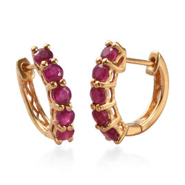 AA African Ruby Inside Out Hoop Earrings (with Clasp Lock) in 14K Gold Overlay Sterling Silver 2.00