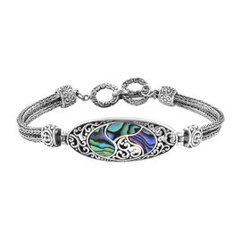 Royal Bali Collection Abalone Shell Bracelet (Size 7.5 - 8) in Sterling Silver, Silver wt 22.50 Gms
