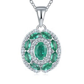 AAA Kagem Zambian Emerald (Ovl and Mrq), Diamond Pendant with Chain (Size 18 with 1.5 inch Extender)