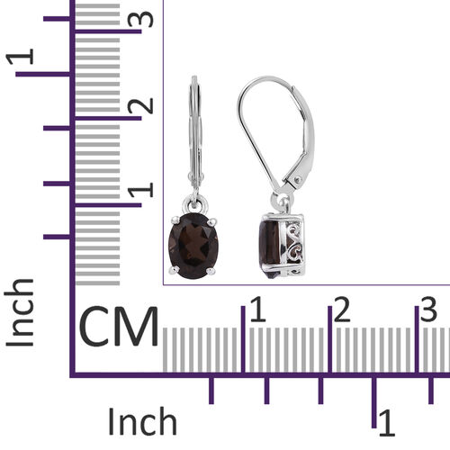 AAA Brazilian Smoky Quartz (Ovl) Lever Back Earrings in Platinum Overlay Sterling Silver 2.250 Ct.
