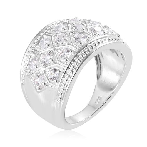 J Francis - Sterling Silver (Rnd) Cluster Ring Made with SWAROVSKI ZIRCONIA, Silver wt 6.12 Gms