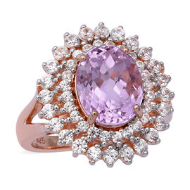 6.66 Ct Kunzite and Zircon Double Halo Ring in Rose Gold Plated Sterling Silver 5.70 Grams